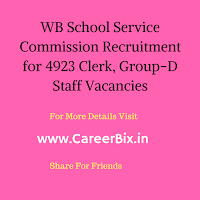 WB School Service Commission Recruitment for 4923 Clerk, Group-D Staff Vacancies