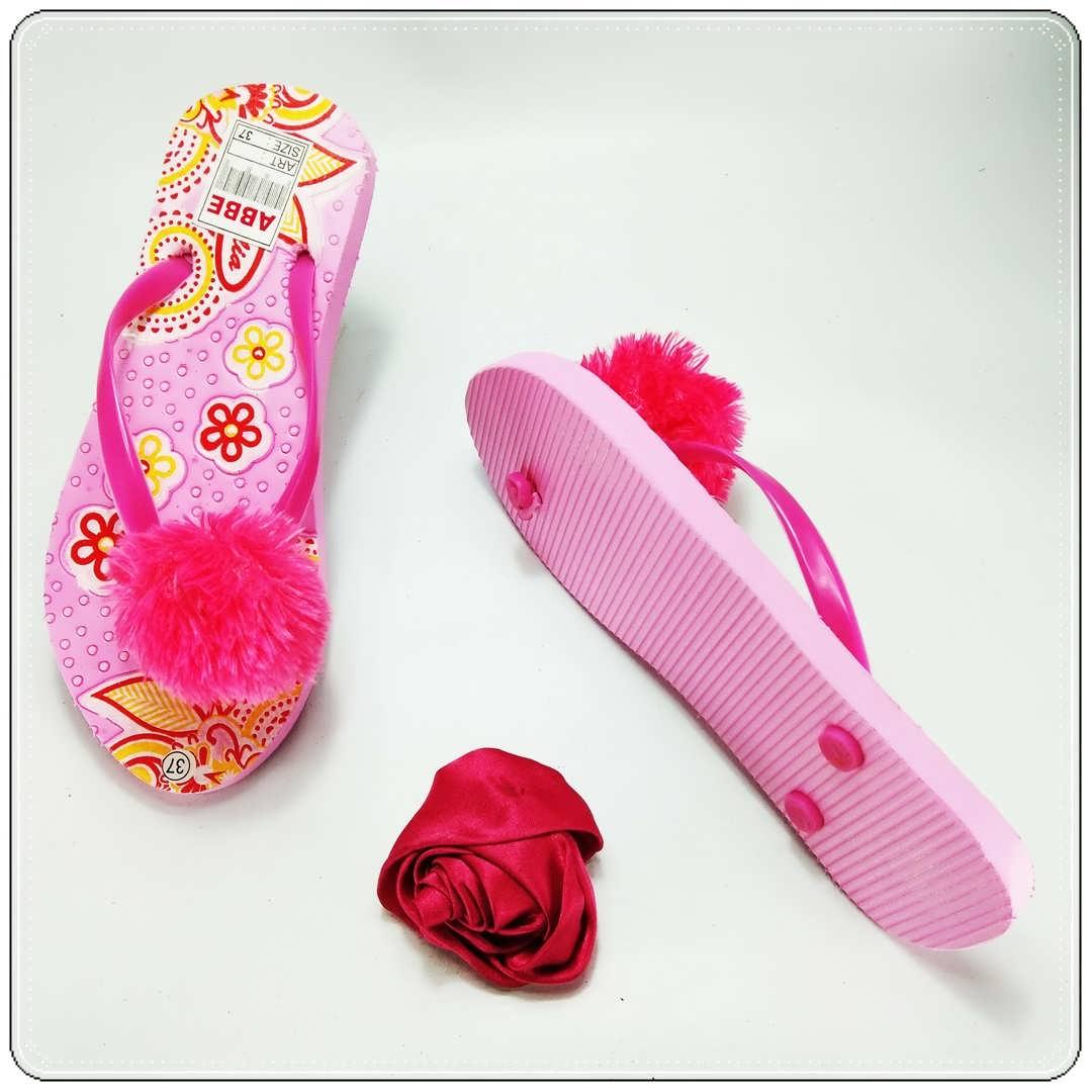 Sandal AB Sablon Bunga Pompom || Terlaris dan Termurah