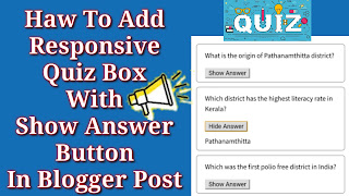 How To Add Responsive Quiz Box With Show Answer Button In Blogger Post