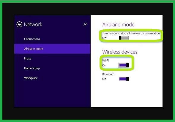 Mengaktifkan WiFi di Windows 8