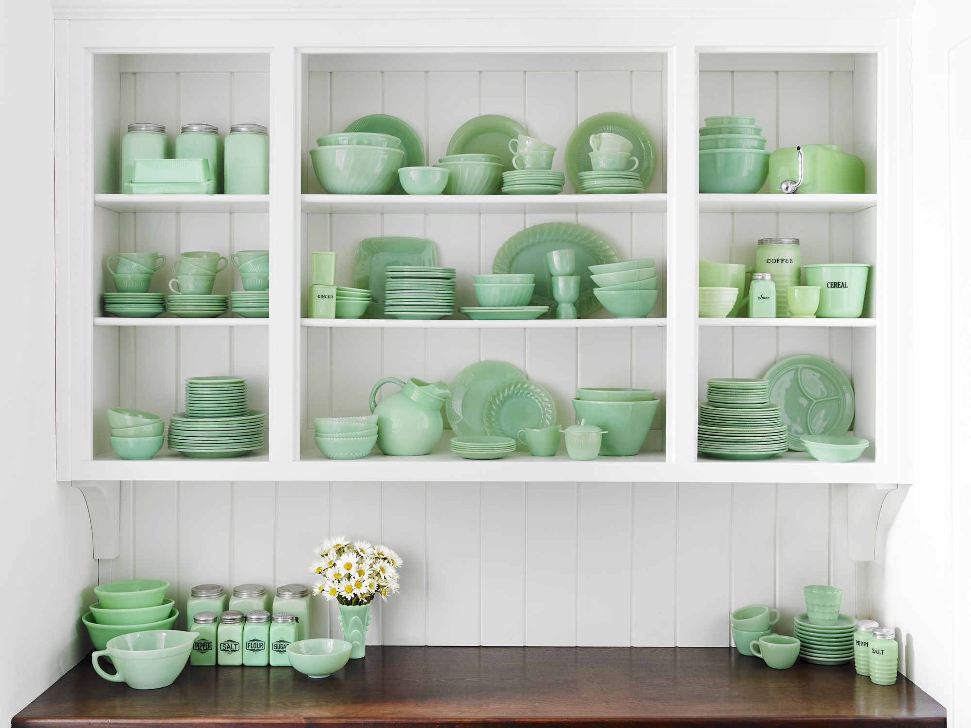 An amazing vintage jadeite collection in hutch cabinet
