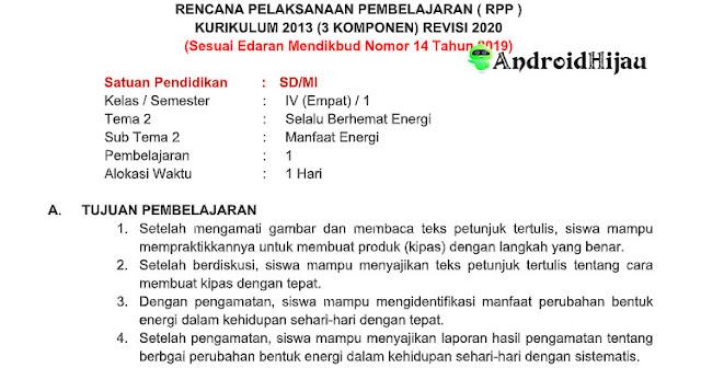 RPP Daring Kelas 4 Tema 2 Sub Tema 2 Manfaat Energi, RPP 1 halaman tematik kelas 4 tema 2 sub tema 2, RPP 1 lembar kurikulum 2013 revisi 2020 kelas 4 tema 2 sub tema manfaat energi