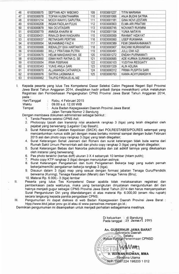 Cpns Pemprov Jawa Barat : pemprov, barat, Hasil, Kelulusan, Pemprov, Jabar, Bersih