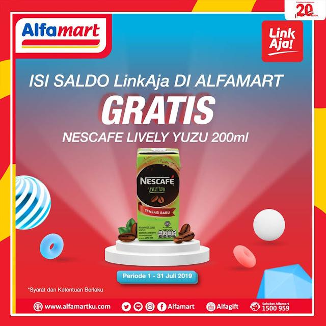 #Alfamidi - #Promo Isi Saldo LINKAJA Gratis Nescafe Lively Yuzu 200ml (s.d 31 Juli 2019)