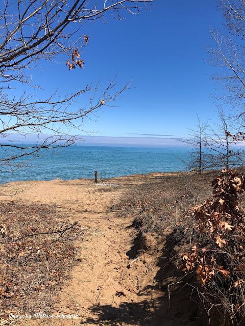 Embarking on a sandy path to Lake Michigan at Kenosha Sand Dunes