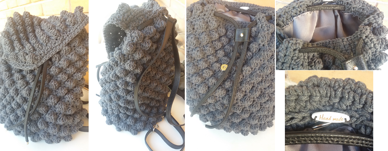 4316e16292 TS36-180Ε Χειροποίητη XL πλεκτή τσάντα πλάτης (διαστασεις  μήκος 30cm