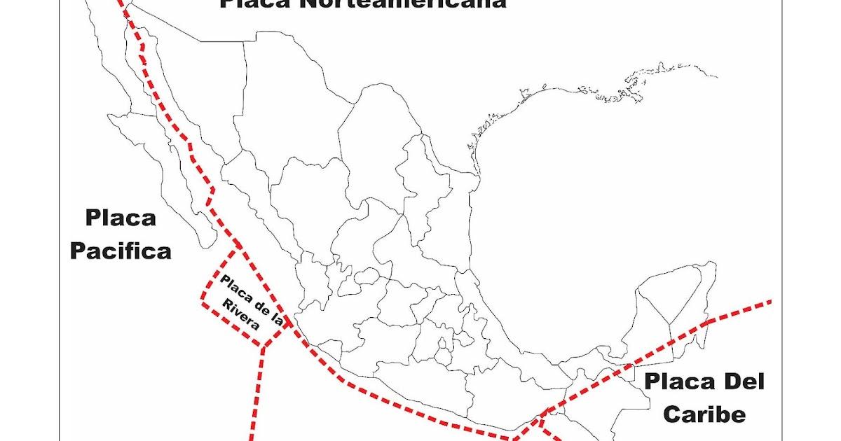 Mapa de México Placas Tectónicas Para colorear - DibujosPaColorear