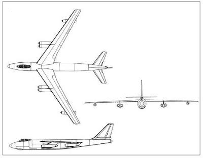 Boeing B-47 Stratojet taslak çizimi.