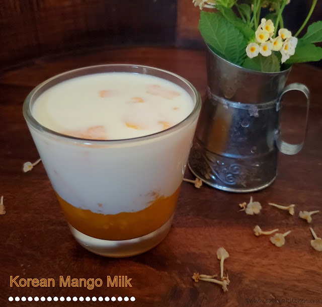 images of Mango Milk Recipe / Fresh Mango Flavored Milk / Homemade Fresh Mango Milk / Korean Mango Milk