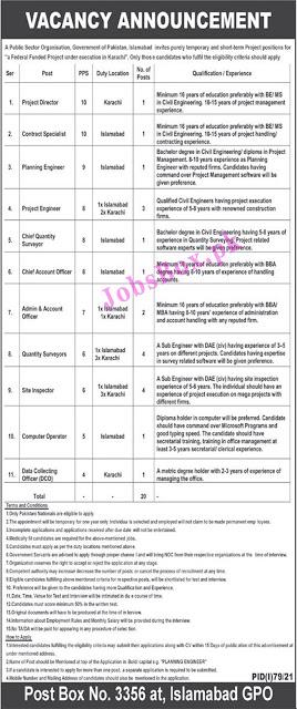 Public Sector Organization PO Box No 3356 Islamabad Jobs 2021