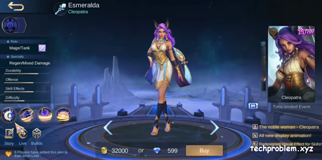 Skin Starlight Esmeralda Cleopatra Gratis Mobile Legends