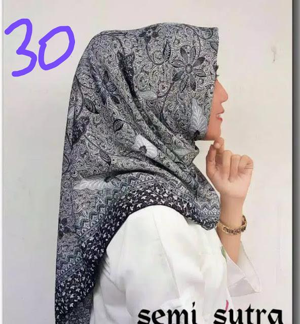 Jilbab Segi Empat Batik Semi Sutera motif terbaru Batik jepara