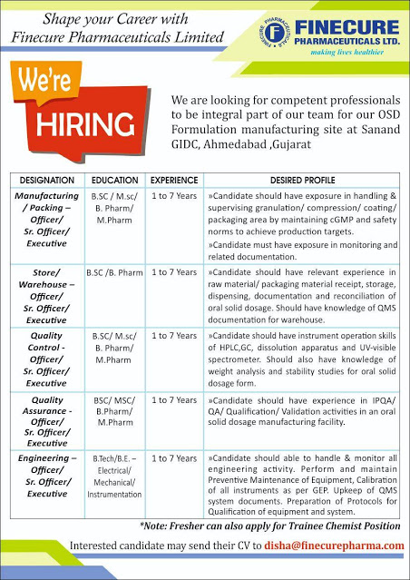 FINECURE PHARMACEUTICALS | Multiple Openings for Manufacturing / Packing / Store / Warehouse / QC / QA / Engineering at Ahmedabad | Send CV