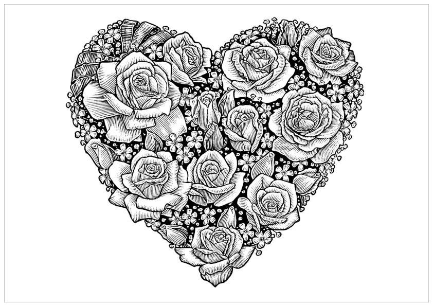 Dessins et Coloriages: Page de coloriage grand format à imprimer : un coeur rempli de roses