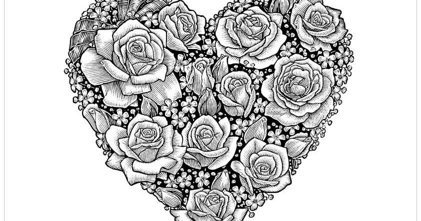 Dessins et coloriages page de coloriage grand format imprimer un coeur rempli de roses - Coloriage grand format ...