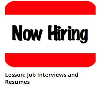 http://englishwithjeff.com/lesson-job-interviews-and-resumes/