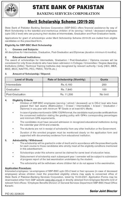 State Bank of Pakistan SBP Merit Scholarship Scheme in Pakistan 21/02/2021 Latest