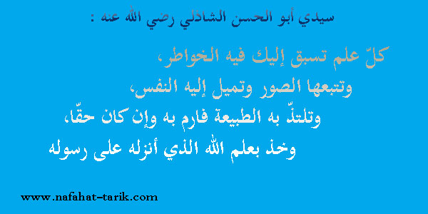 الشيخ أبو الحسن عليّ الشاذليّ رضي الله عنه.