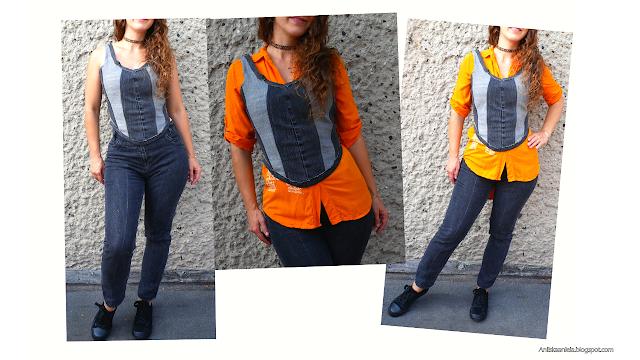 How to make a cropped corset top diy | jak uszyć top z dżinsów