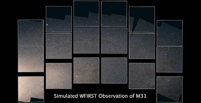 This simulated image of a portion of the Andromeda galaxy highlights the high resolution, large field of view, and unique footprint of NASA's upcoming Wide Field Infrared Survey Telescope (WFIRST). Made using data from the Panchromatic Hubble Andromeda Treasury (PHAT) program, the image spans approximately 34,000 light-years, or about 1/5 of the full disk of Andromeda, showcasing the red and near-infrared light of more than 50 million individual stars. Red and green represent near-infrared light, while blue represents visible red light. The image runs from the edge of the bright core of the galaxy on the lower left, out along and across several of the galaxy's spiral arms in the middle and right. Credit: NASA, STScI and B.F. Williams (University of Washington)
