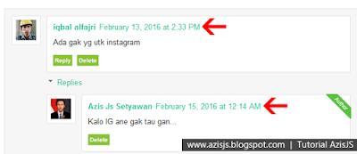 Tutorial Azis JS | Cara Terbaru Menghilangkan atau Menyembunyikan Tanggal/Hari/Bulan/Tahun pada Komentar Blogger