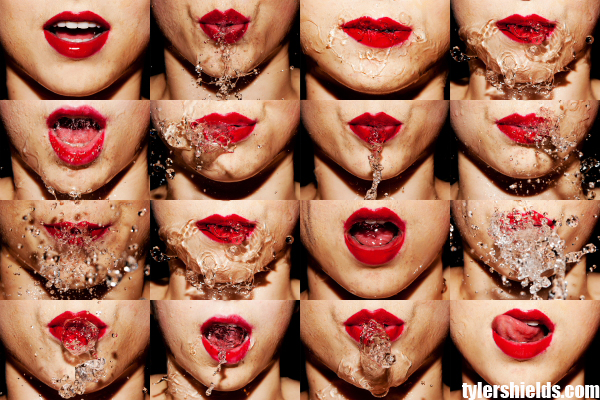 Tyler Shields, water, Mouthful, photographer, red lipstick