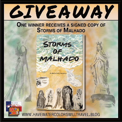 Storms of Malhado tour giveaway graphic. Prizes to be awarded precede this image in the post text.