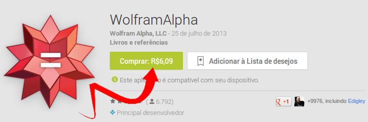 Comprando aplicativo wolfram alpha via navegador