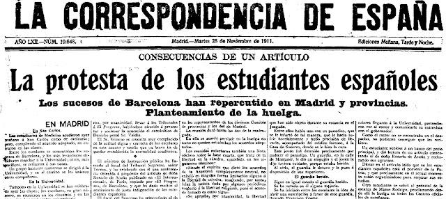 Fragmento de la portada del diario La Correspondencia de Españ, (Madrid, 28/11/1911)