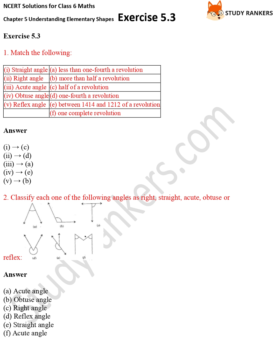 NCERT Solutions for Class 6 Maths Chapter 5 Understanding Elementary Shapes Exercise 5.3