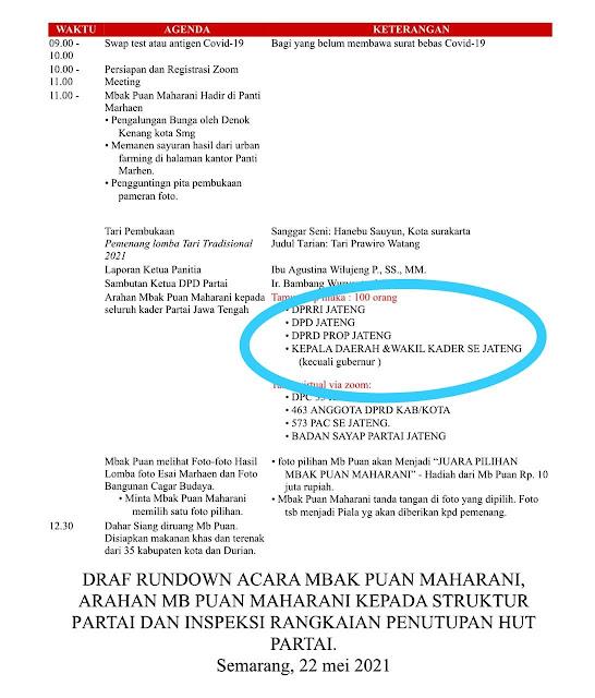 Foto draft rundown acara Puan Maharani yang tak undang Ganjar Pranowo, Semarang.