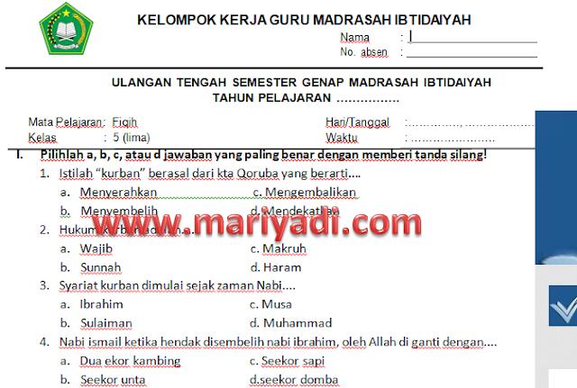 Kumpulan Soal UTS Fiqih Kelas 1 2 3 4 5 6 MI Semester 2 Kurikulum 2013
