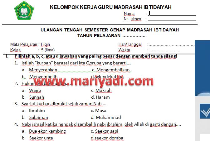 Soal Uts Fiqih Kelas 1 Mi Semester 2 Kurikulum 2013 Mariyadi Com
