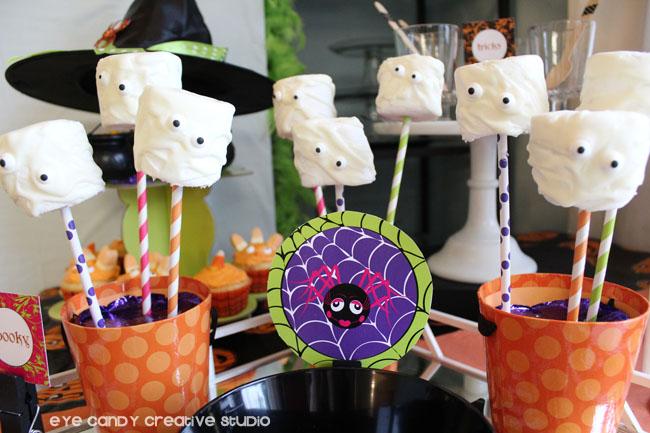 halloween party dessert ideas, marshmallow pops, ghost pops