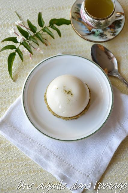 Financier thé vert et dôme au citron vert (sans gluten) panna cotta
