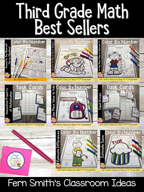 You can click on the picture or the caption below it to arrive at my TpT store already sorted for the grade level items you want for your class. Third Grade Go Math Best Sellers for Your Third Grade and Fourth Grade Students. #FernSmithsClassroomIdeas
