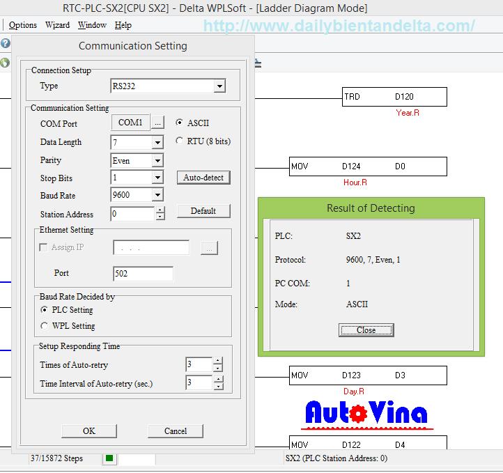 Hướng dẫn lập trình PLC Delta Auto-detect PLC - kết nối PLC Delta với máy tính