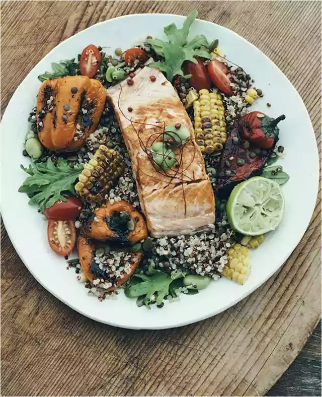 Salmon with charred corn quinoa salsa