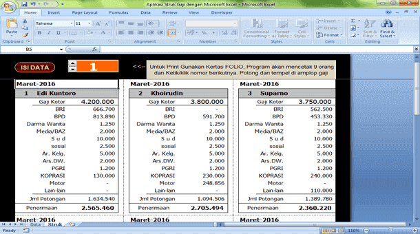 Aplikasi Struk Gaji dengan Microsoft Excel