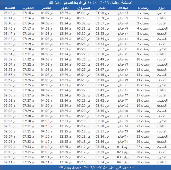 امساكية رمضان 2019 - 1440 فى الرباط
