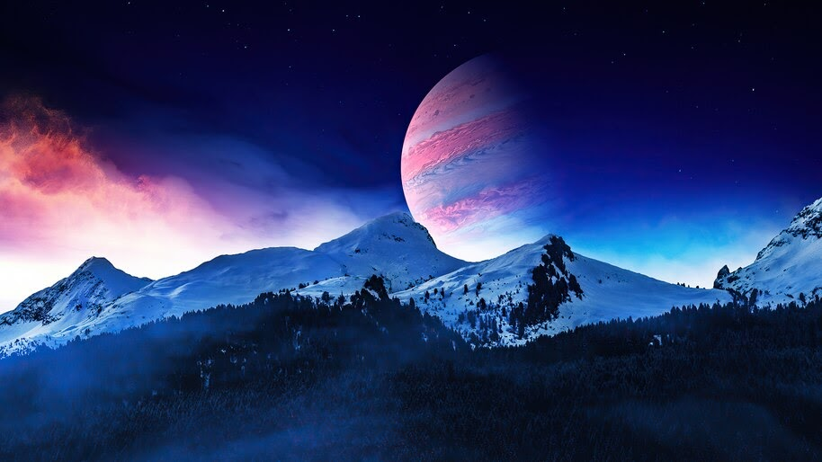 Night, Scenery, Mountain, Landscape, Planet, Digital Art, 4K, #6.442