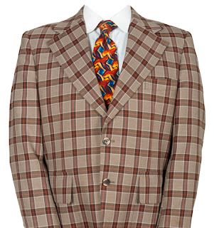 Stuffed checkered suit with mismatched tie