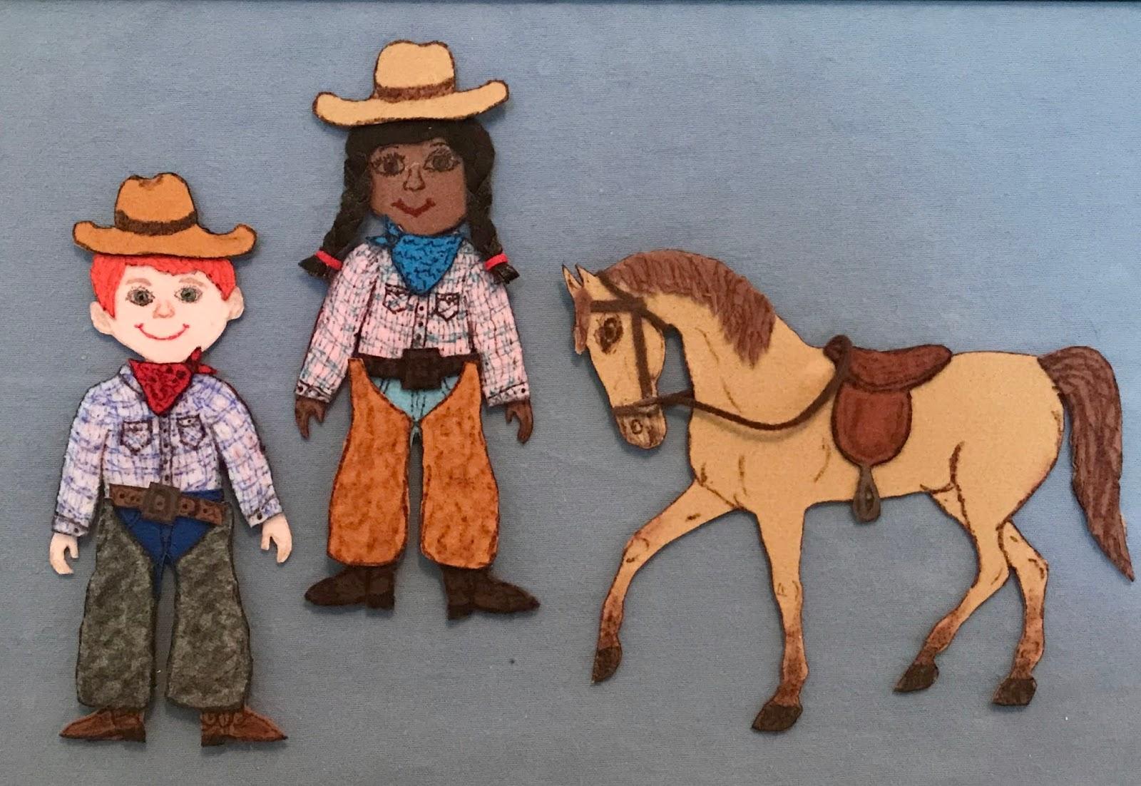 Cowboy flannel board, cowgirl felt set, cowboy rhyme