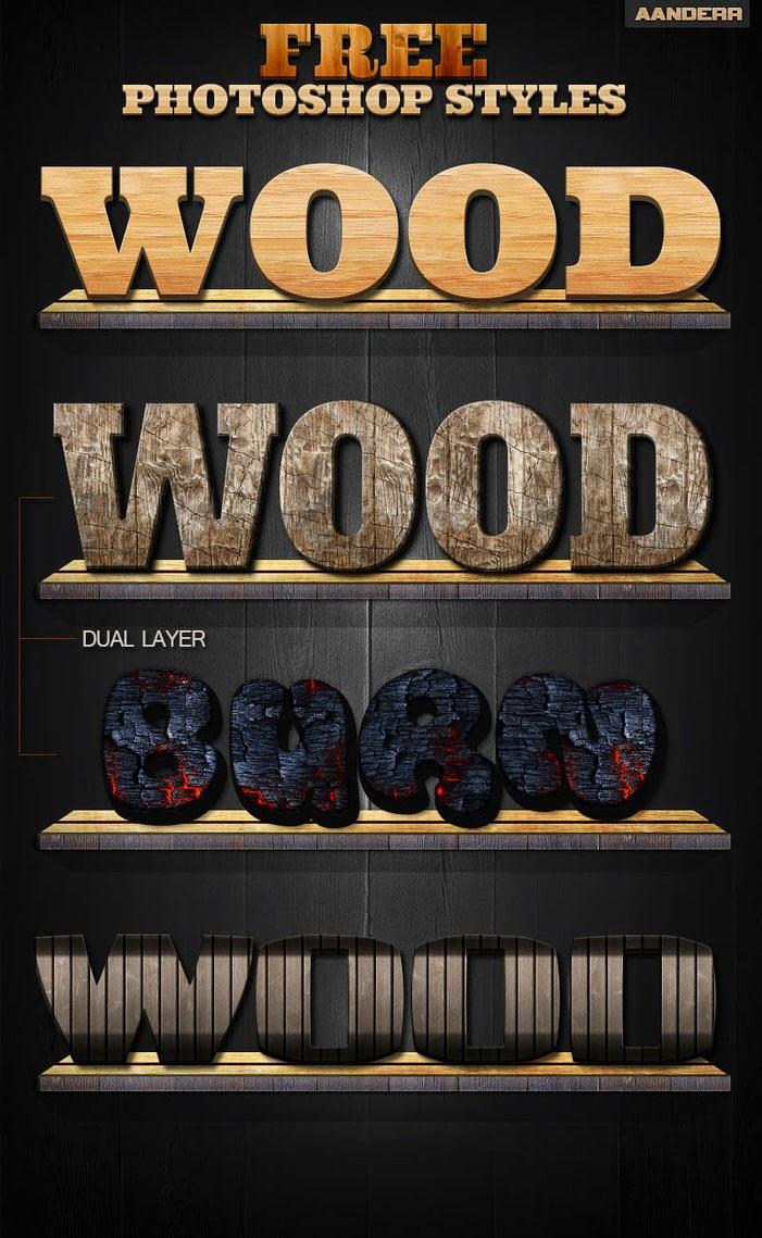 Wood Text Effect PSD