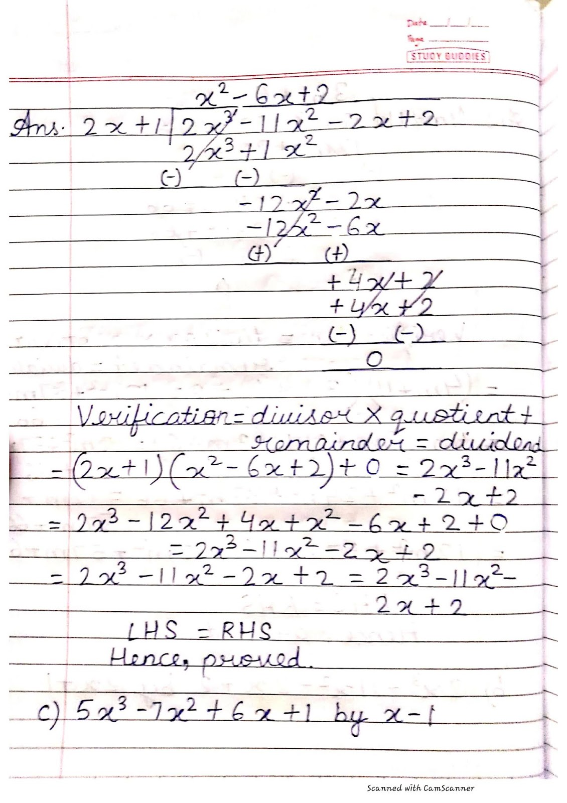 Math Ch 6 Algebraic Expressions And Identities Notebook