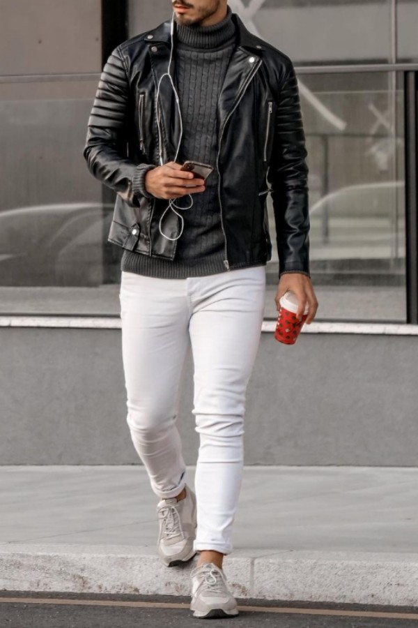 Turtle-neck with leather jacket & jeans