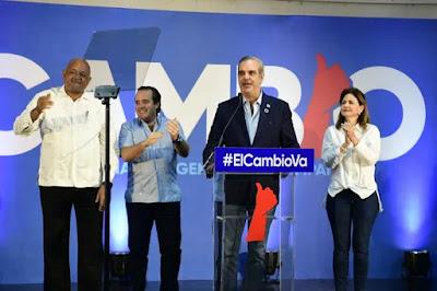 Luis Abinader proclamó victoria aplastante de esa organización y sus aliados