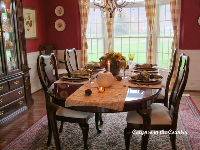 Thanksgiving Table in Red Dining Room