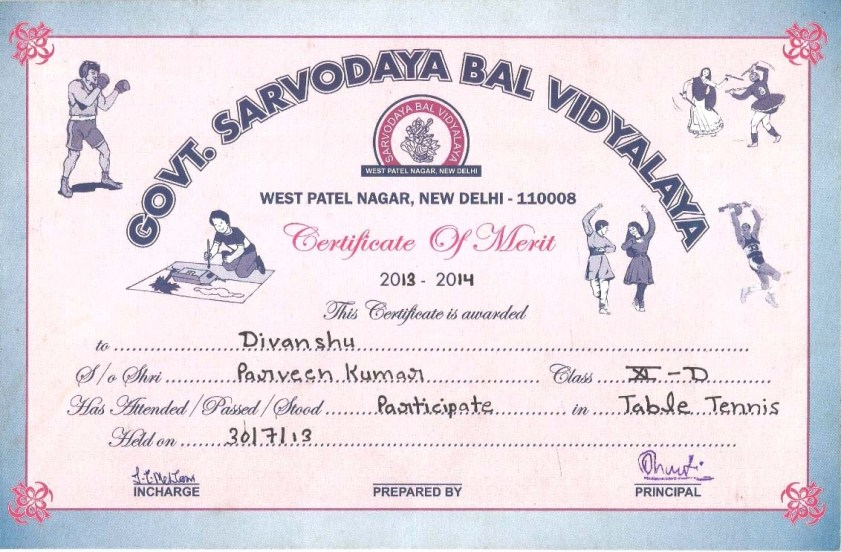 Vky Malik School Level Competitions Certificates - merit certificate comments