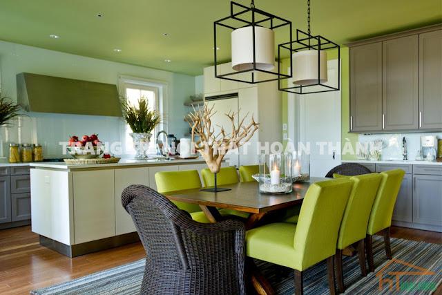 Trần nội thất nhà bếp màu xanh 2